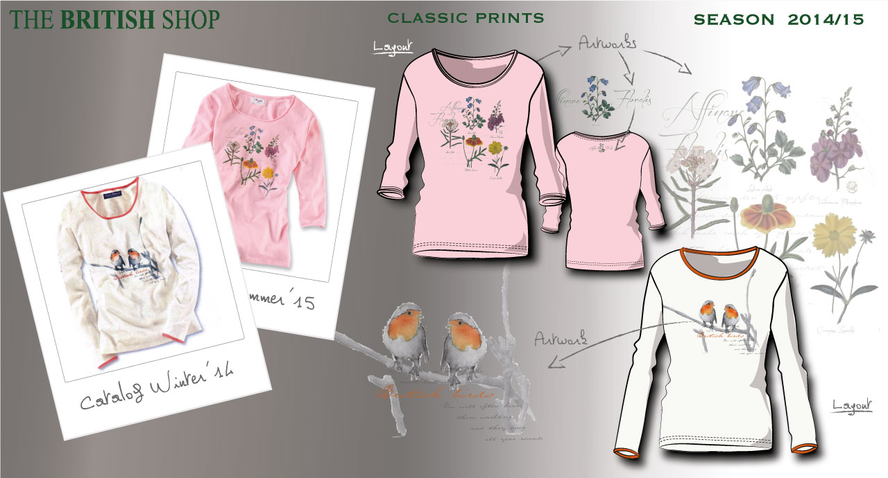 The British Shop Ladies Shirt Layouts, Katalog Fotos