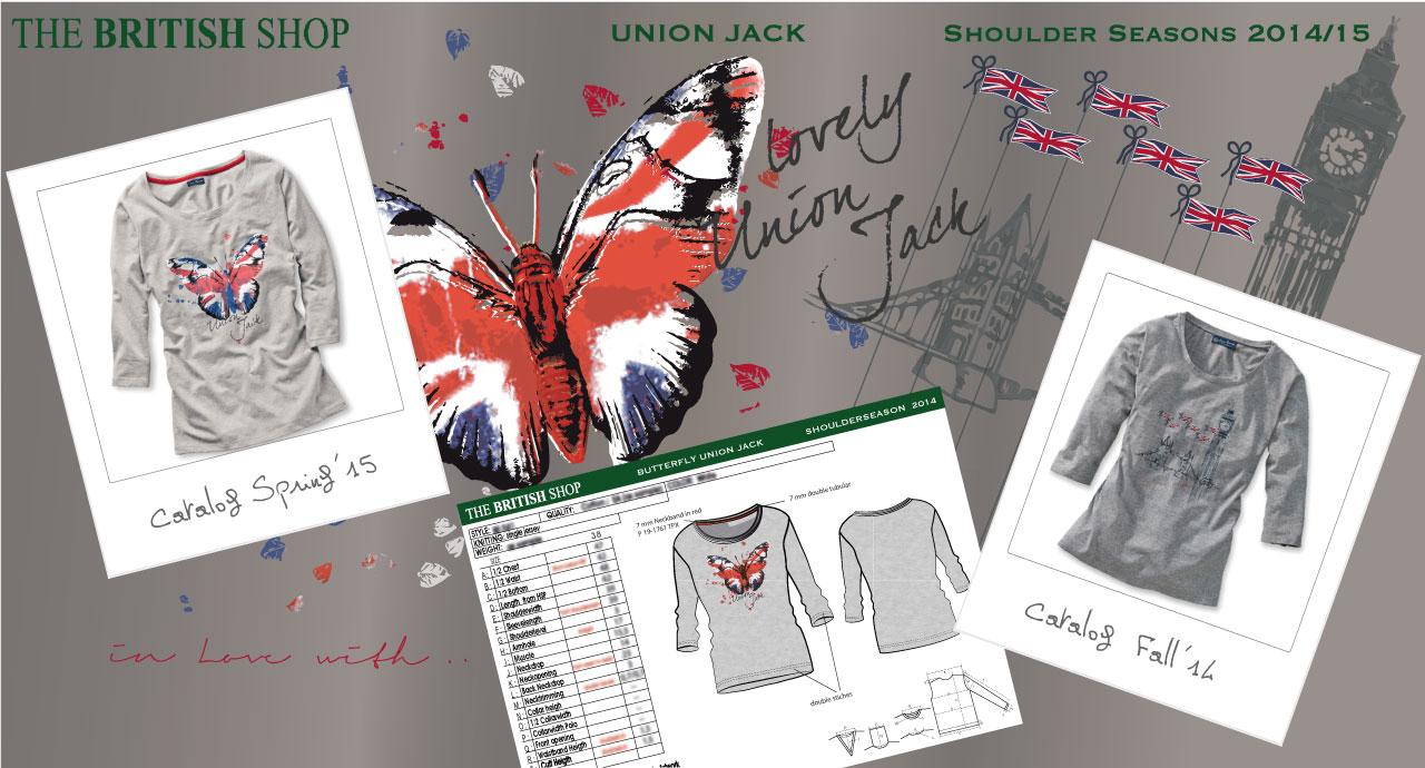 Damen Shirt Entwürfe, technische Anleitungen und Fotos, The British Shop