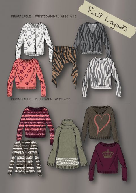 Knit Layouts, Allover printed and Intarsia