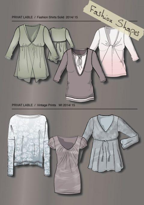Design feminin geschnittener Shirts