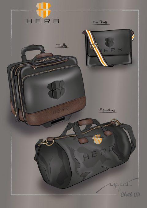 Produktdesign Trolley Sporttasche und Businesstasche , Illustrationen und Layouts