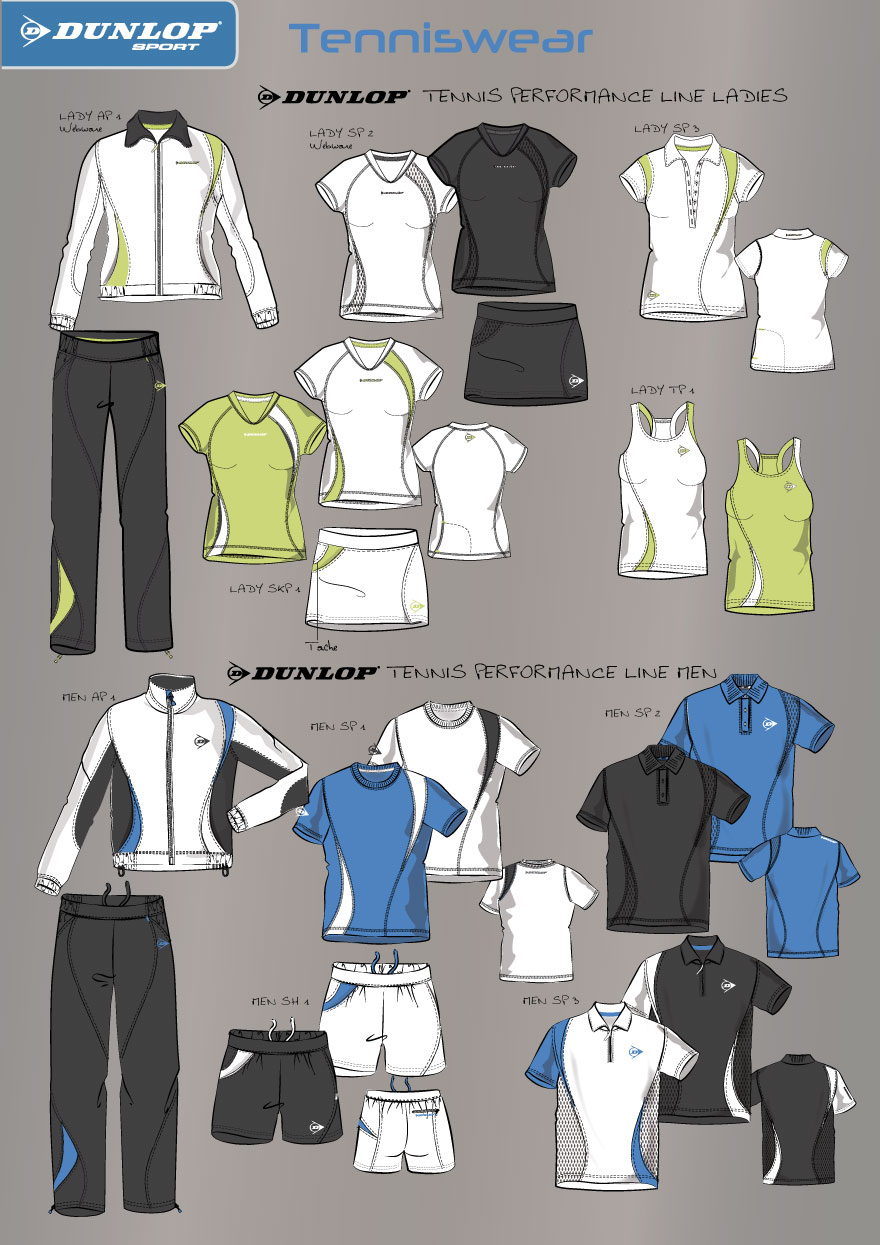 Tennis Wear Design für Dunlop, Men and Women