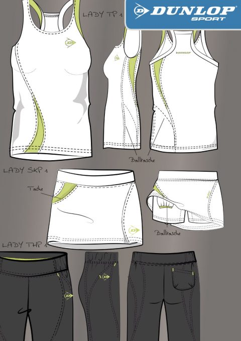 Tennis Wear Design für Dunlop, Layout Women