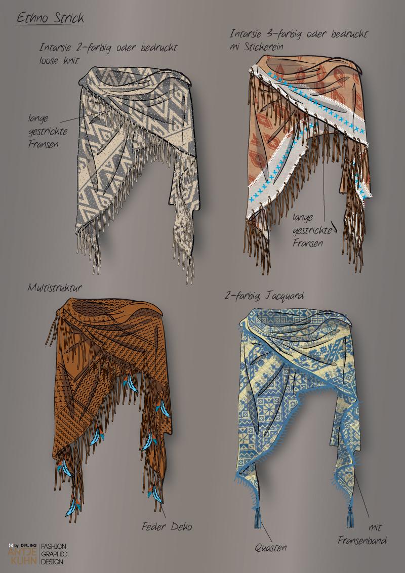Entwürfe von Stricktüchern/ Ponchos