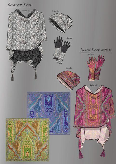 Entwürfe bedruckter Strick Ponchos